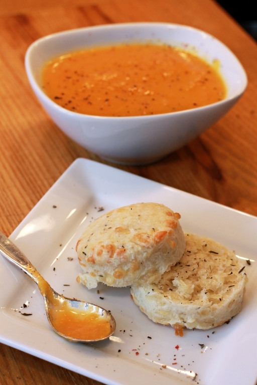 Carrot Soup and Cheddar Scones