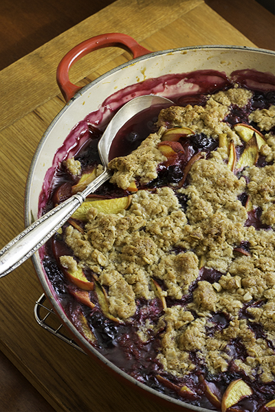 Peach Blueberry Basil Crumble